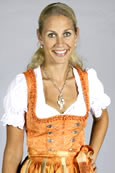 Modisches Midi Dirndl orange